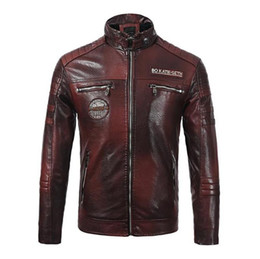 Wholesale mens yellow leather jacket for sale - Group buy Biker Jackets Stand Collar Long Sleeve Thick Designer Mens Leather Jacket Autumn Mens Printed Coats PU Leather Mens