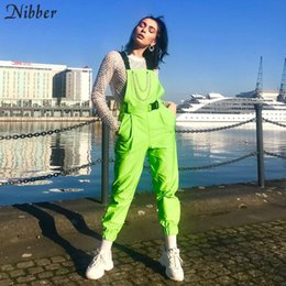 $enCountryForm.capitalKeyWord Australia - Nibber Fluorescent Green Bib Pants Women's Street Black Casual Pants Playsuits 2019spring Hot Sale Ladies Solid Full Jumpsuits MX190726