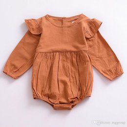$enCountryForm.capitalKeyWord NZ - Autumn INS New Baby Infant Girls Rompers Ruffles Round Collar Long Sleeve Blank Thin Organic Cotton Fabric Newborn Girls Jumpsuits 0-24M