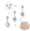 14k gold belly button rings NZ - 5pcs set 3 Colors CZ 316L Stainless Steel Jewelry Navel Bars Silver Belly Button Ring Navel Body Piercing Jewelry