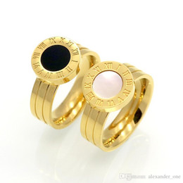 $enCountryForm.capitalKeyWord Australia - Hot!! Famous Brand Women Rings Gold Rose Gold Color Stainless Steel Ring Roman Numeral Shells Luxury Jewelry Female Top Quality