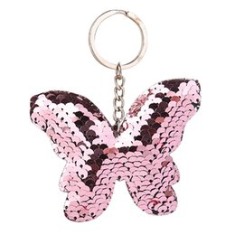 butterfly key Australia - New Beautiful Butterfly Keychain Glitter Sequins Key Chain Gift For Women Girl Llaveros Mujer Car Bag Accessories Key Ring