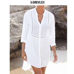 Discount open front beach cover ups - 2019 Casual Hollow Out V-Neck Long Sleeve Front Open Loose Summer Beach Dress White Cotton Tunic Women Beachwear Cover-U
