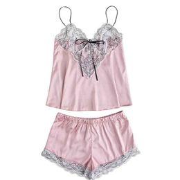 2019 Night Pyjamas Women Fashion Girls Cute Lace Embroidered Silk Underwear  And Shorts Pajama Set New Sexy Sleepwear Women a5b1fcd16834