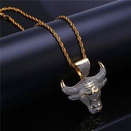 $enCountryForm.capitalKeyWord Australia - 18K Gold Plated Hiphop Jewelry Necklace For Men Women Cool Ice Out CZ Bull Head Pendant Necklaces Wholesale