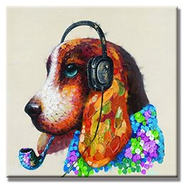 Oil Color Abstract Canvas Australia - High Quality Handpainted & HD Print Abstract Cartoon Animal Headset Dog Color Palette Art Oil Painting On Canvas Wall Art Home Office Deco