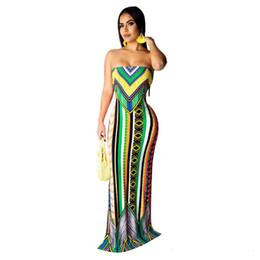 67c227f353 Nuevo vestido de impresión popular de las mujeres sin tirantes atractivo  geométrico boho vestido largo sin mangas vestido sexy maxi femenino
