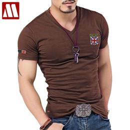 Fitted V Neck T Shirts Australia - New Arrival Summer Fashion British Flag Embroidered Slim Fit V Neck Shirt Brand Men Cotton Funny T Shirts C190420
