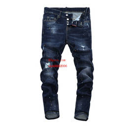 men pants italy UK - 2019 Top quality mens jeans Shredded slim straight pants man brand clothes for mens Pants Fashion Holes Trousers Italy man clothes YDL-4