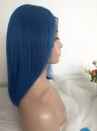 $enCountryForm.capitalKeyWord Australia - Blue Bob Wig Colored Glueless Human Hair Lace Front Wigs Straight Raw Indian Short Pixie Bob Wig For Black Women Pre Plucked Hairline