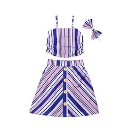 Toddler Winter Outfits UK - 0-5Y Summer Toddler Kids Baby Girl Striped Outfits Tank Tops Button A-line Skirt 3PCS Fashion Children Girls Clothing Set