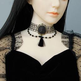 $enCountryForm.capitalKeyWord Australia - Dark Gothic Style Witch Collar Necklace Halloween Dark Grey Ghost Doll Face Pearl Chain & Tassel Collar Necklaces