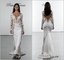 $enCountryForm.capitalKeyWord Australia - 2019 Pnina Tornai Mermaid Wedding Dresses Deep V-Neck Lace Bridal Gowns plus size Long Sleeves Bridal Dress Backless Custom Made