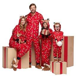Großhandel Rote Weihnachtsmuttergesellschaft kleidet Modehut Weihnachtsdruckoverall, Hauptkleidung