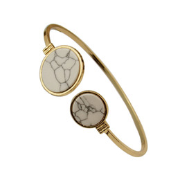 Chinese  Marbled Geometric Bracelet For Women Bijoux White Black Faux Marble Round Geometric Bangle Gold Circle Cuff Bangle Stone Bracelet manufacturers