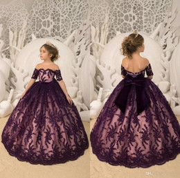 Big Girls Pageant Dresses NZ - new Grape Flower Girl Dresses Short Sleeve Lace With Big Bow Girls Pageant Gowns Toddlers First Communion Gowns For Wedding Party