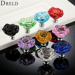 glass dresser drawer pulls handles 2019 - RELD 1pc 50mm Crystal Rose Glass Clear Knob Furniture Kitchen Drawer Cabinets Handles Dresser Closet Pulls Furniture Har