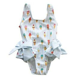 Wholesale Summer Toddler Girl Swimwear One Piece Swimsuit Bow Bodysuit One Piece Bathing Suit Beach Swimwear Children Swimwear Kids Wear
