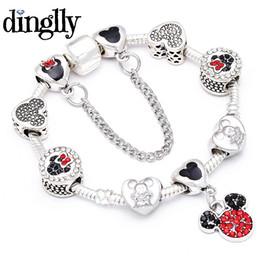 $enCountryForm.capitalKeyWord Australia - DINGLLY Cartoon Mickey Charm Bracelet For Women Girls Boys DIY Mickey Beads Pandora Bracelet & Bangle Jewelry Friendship Gifts