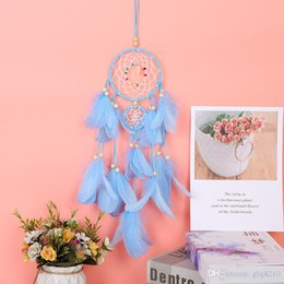 diy wind chimes Australia - Indian Dream catcher wind chime handmade LED Lights DIY Natural Feathers Wall Hanging Circular With Feathers Hanging Decoration 10pcs lot