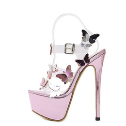 women summer sandal flower Canada - Gladiator Sandals Ankle Strap Platform Sandals Women Flower Transparent Women Pumps 17cm Summer Sexy Purple Woman Sandal