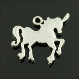 $enCountryForm.capitalKeyWord Australia - 50pcs Charm Lucky Horn Horse Lucky Horn Horse Pendant Charms For Jewelry Making Antique Silver Lucky Horn Horse Charms 30x24mm