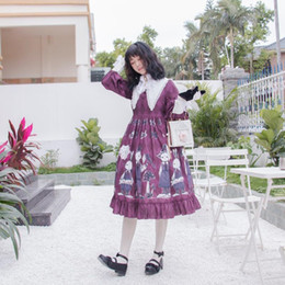 simple cosplay NZ - Best Selling Lolita Dress Candy Cute Printed Women Princess Dresses Japanese Gothic Simple Party Cosplay Costumes Fashion New Style Skirt