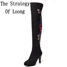 plush embroidery Australia - Women Flock Short Plush Thigh High Boots Round Toe Fashion Embroidery Flowers Long Boots Traditional National Style Booots 7