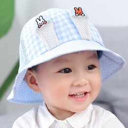 korean gardening hat NZ - Baby pot cap spring, summer and autumn new mesh breathable fisherman hat Korean version of rabbit ears men and women children sun hat