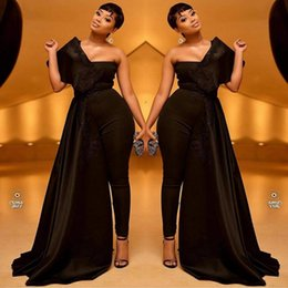 Training Jumpsuits Australia - 2019 Black Women Prom Jumpsuits With Long Train Appliqued One Shoulder Satin Evening Dress Custom Made Sweep Train Formal Party Gowns