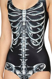 Wholesale New Sexy Black White Skeleton Swimsuit One Piece For Women Halloween Active SKull White Swimwears S To XL
