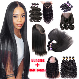 Wholesale 9A Brazilian Virgin Human Hair 3 Bundles With 360 Lace Frontal Closure Straight Body Wave Loose Water Wave 360 Lace Frontal With Bundles