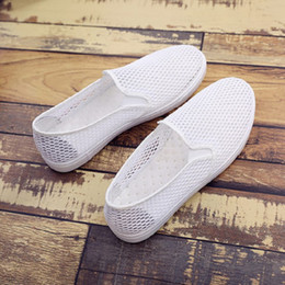 Lazy Pedal Australia - Small white shoes female summer mesh shoes breathable flat casual lightweight one pedal student lazy net