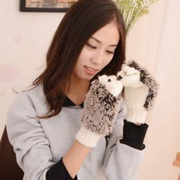 Novelty Cartoon Winter Gloves 9 Colors Cute Women Knit Winter Fitness Gloves Lovely Hedgehog Warm Wrist Mittens TTA1747 on Sale