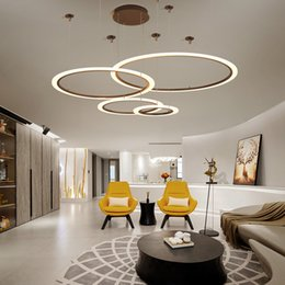 China White Coffee Color Simple Modern LED Pendant Lights Ring Acrylic Restaurant Kitchen Living Room Villa Hanging Pendant Lamp-Le82 cheap white pendant acrylic lamps suppliers