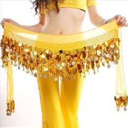 coined clothes NZ - Women Girls Colorful Adult Belly Dancer Costume Hip Scarf Wrap Sequins Belt 58 Coin Chiffon Skirt Clothes