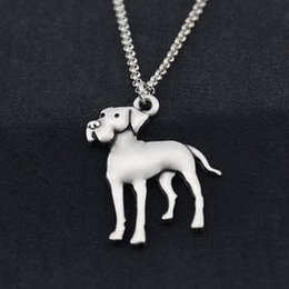 wholesale dog lover gifts NZ - Retro Great Dane Dog Pendant Necklace For Women Stainless Steel Chain Animal Lover Gift Pet Necklaces Men Fashion Jewelry Chocker