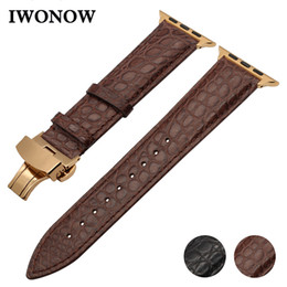 $enCountryForm.capitalKeyWord Australia - Genuine Crocodile Leather Watchband For Iwatch Apple Watch 38mm 40mm 42mm 44mm Series 4 3 2 1 Band Butterfly Buckle Croco Strap T190708