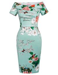 $enCountryForm.capitalKeyWord UK - Bp Sexy Floral Dress Elegant Retro Shorts Off Shoulder Design Hips Wrap Smart Knee -length Work Pencil Bodycon Vintage Dress Y19071001