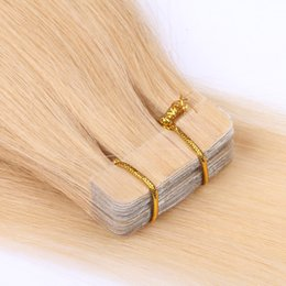 Discount tape hair extensions 18 613 - Full Cutcile Aligned Virgin Remy Hair Double Drawn Blonde 613 color 6-30 inch tape in hair extensions human