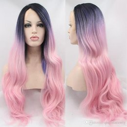 $enCountryForm.capitalKeyWord Canada - Cosplay Black Root Ombre Blue Purple To Pink Colorful Heat Resistant Fiber Body Wavy Soft Synthetic Lace Front Wig Free Shipping