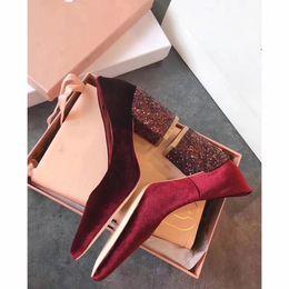 $enCountryForm.capitalKeyWord NZ - Hot Sale-Glitter Heels Velvet Dress Shoes Female Chunky heels Brand Hot Fall Evening Shoe