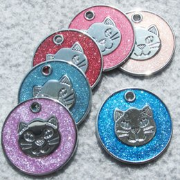 zinc alloy tags NZ - 100pcs lot Zinc Alloy Blank Cat-face Designed Circle Pet Dog ID Tags with Drip Processed Face