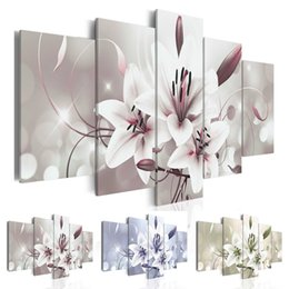 Flower Gift For Love Australia - New Fashion Pink Flowers Lilies Abstract Art on Canvas Painting Wall Art Picture Print Home Decor Gifts for Love (Without Frame)