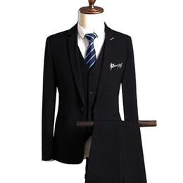 Casual Trouser Suits NZ - Blazers Pants Vest Sets   2018 New Fashion Suits Men's Casual Business Letter Print 3 Piece Suit Jacket Coat Trousers Waistcoat