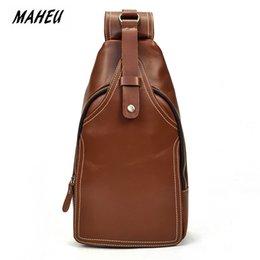 Single Shoulder Strap Packs Australia - MAHEU Messenger Bag Men Shoulder Genuine Leather Chest Bag Crossbody Business Messenger Bags Male small Back Pack Single Strap