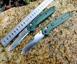 "Benchmade 940 Osborne Folding Knife 3.4"" S30V Satin Plain Blade, Purple Anodized Spacer titanium,Green Aluminum Handles from bill deshivs leverletto manufacturers"