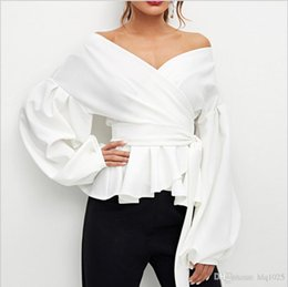 $enCountryForm.capitalKeyWord NZ - 2018 European and American Women's Shirts Off-the-shoulder Lantern Sleeve Tops Bow-tie waist blouses black and white