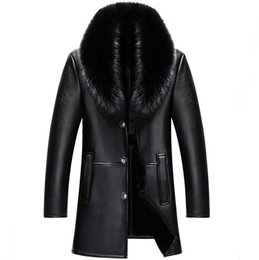 Wholesale men slim fur coat for sale - Group buy 2018 winter NEW Men Genuine leather jacket mens sheepskin fur Coat male slim Business Casual Long jacket M XL