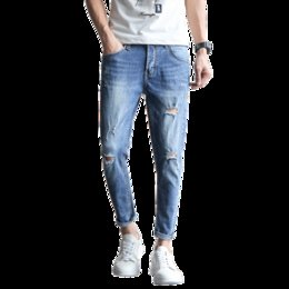 6d66ccd256c Men Ankle Length Ripped Jeans Australia - High Quality Summer Casual Jeans  Men Fashion 2019 Brand
